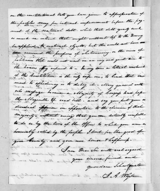J. A. Whyte to Andrew Jackson, August 12, 1830
