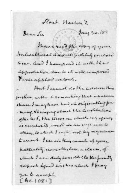 James Madison to Barton Z. Stout, January 30, 1830.
