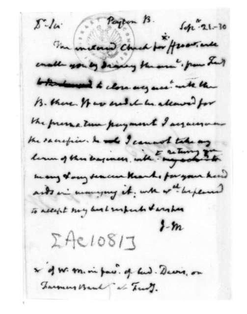 James Madison to Bernard Peyton, September 21, 1830.