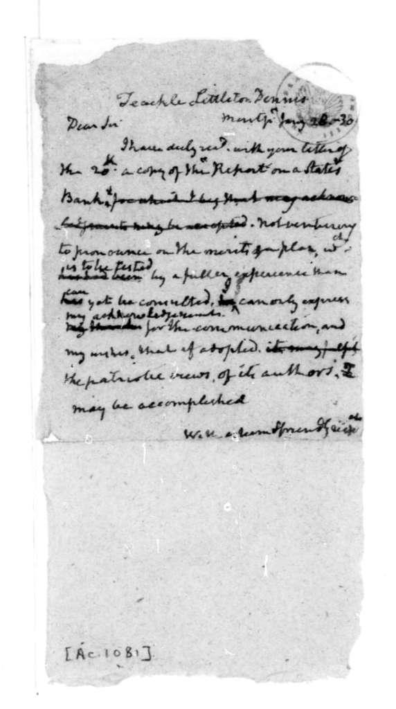 James Madison to Littleton Dennis Teackle, January 28, 1830.