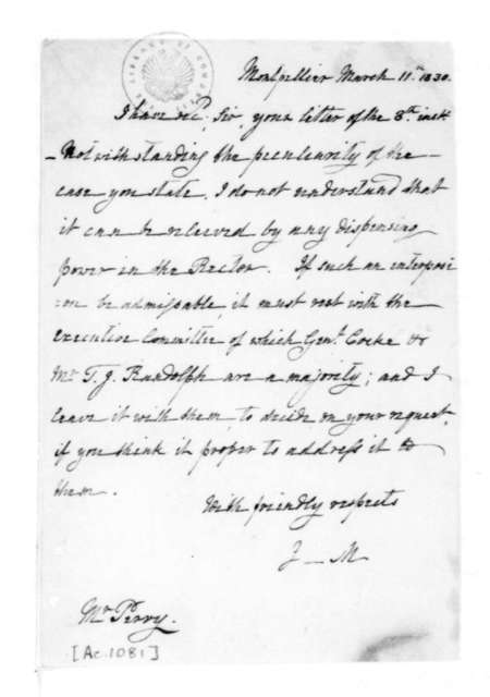 James Madison to Perry, March 11, 1830.