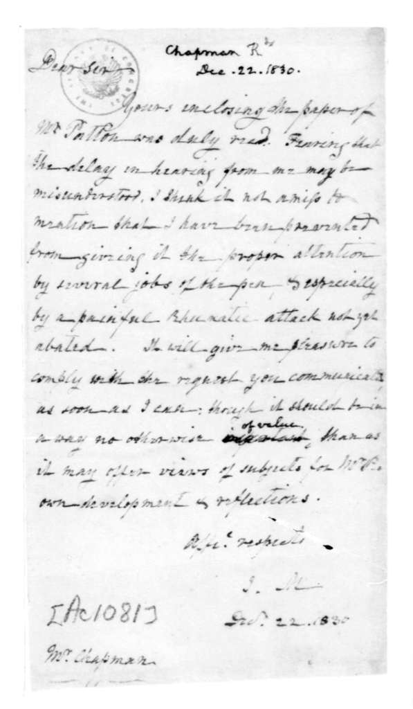 James Madison to Richard Chapman, December 22, 1830.