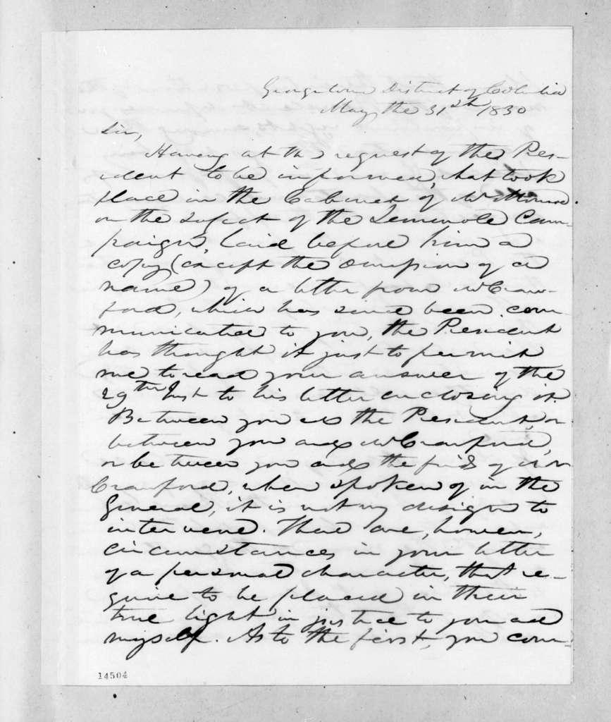 John Forsyth to John Caldwell Calhoun, May 31, 1830