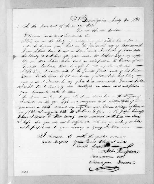 John Thompson to Andrew Jackson, July 4, 1830