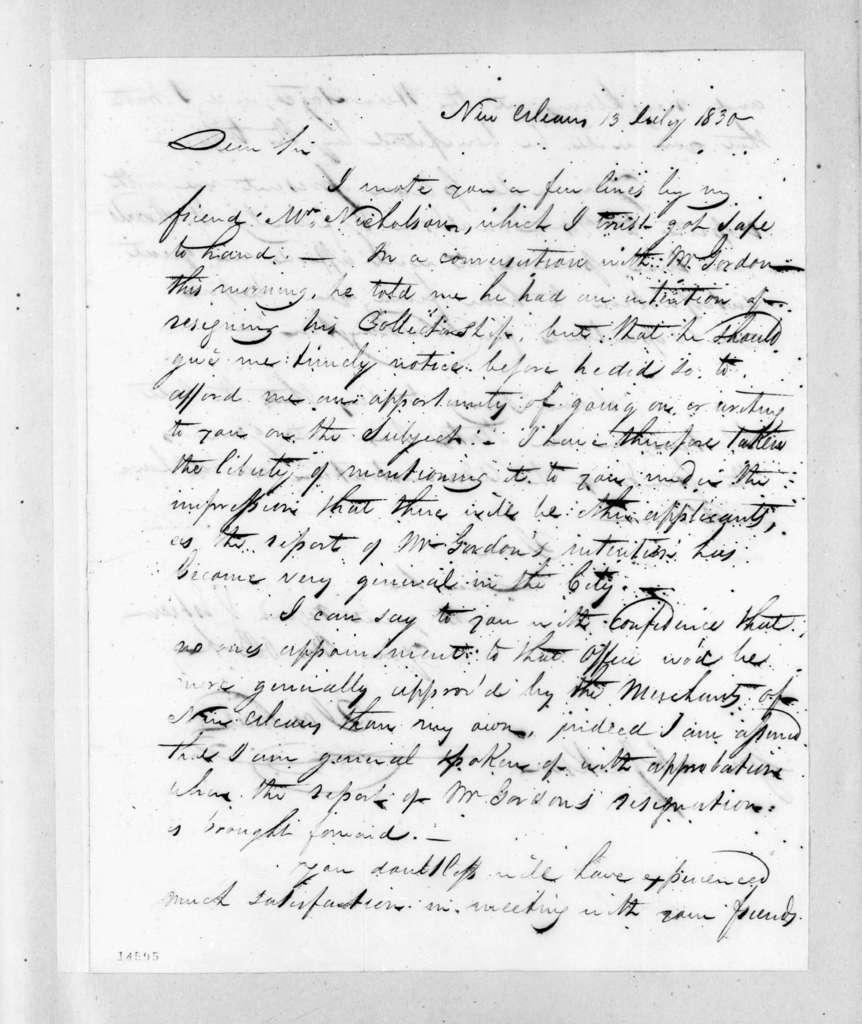 Joseph Saul to Andrew Jackson, July 13, 1830