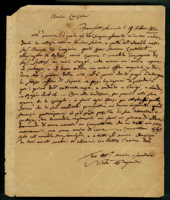 Letter from Nicolò Paganini to Francesco Morlacchi (at the court of Dresden), 19 February 1830