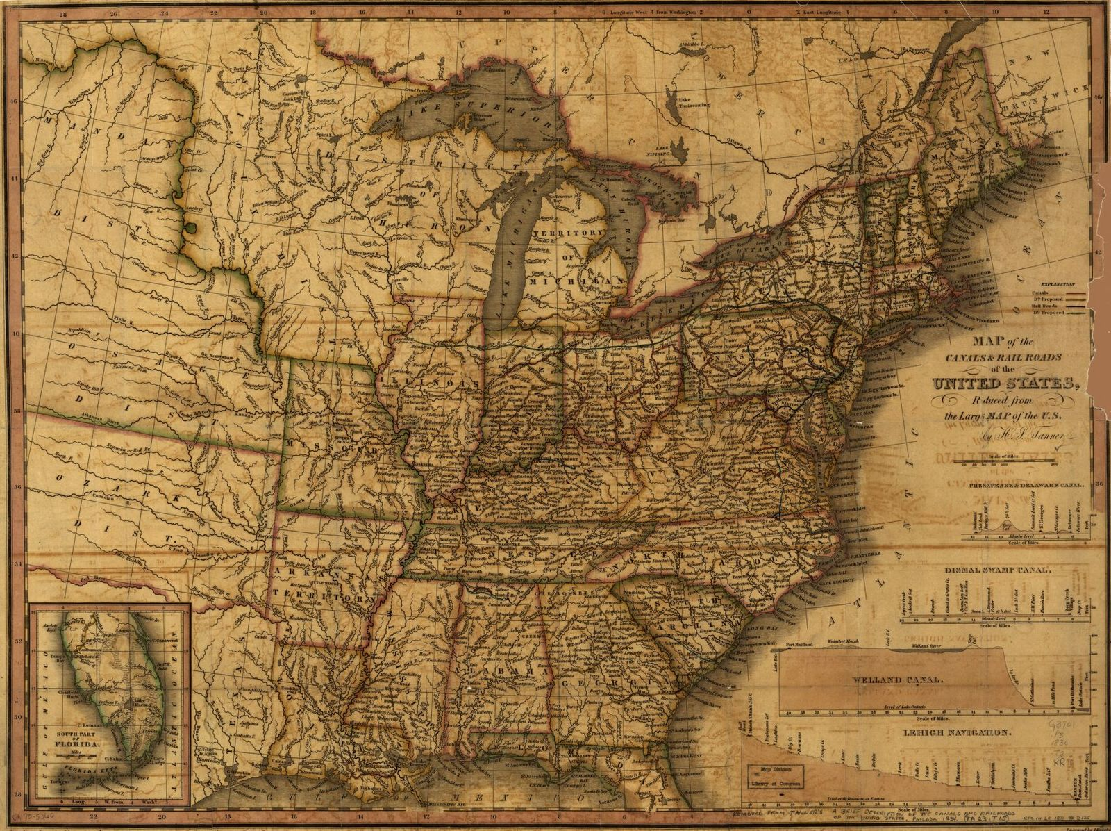 Map of the canals & rail roads of the United States reduced from the large map of the U.S.