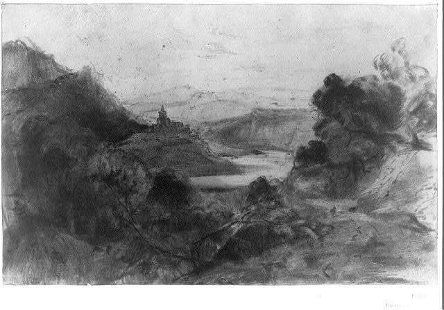 [Mountain landscape with river and church on a hill]