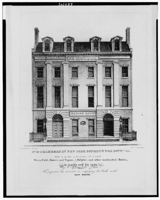 No. 39 Chambers St., New York, opposite the Rotunda, rebuilt on the scite [sic] of the (formerly) New York Bath / A.J. Davis, delt. ; Imbert's Lithography.