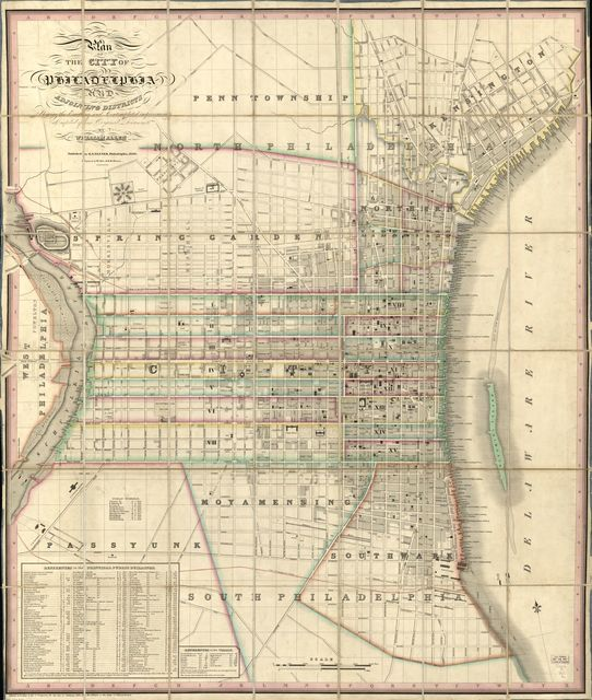 Plan of the city of Philadelphia and adjoining districts : shewing the existing and contemplated improvements /