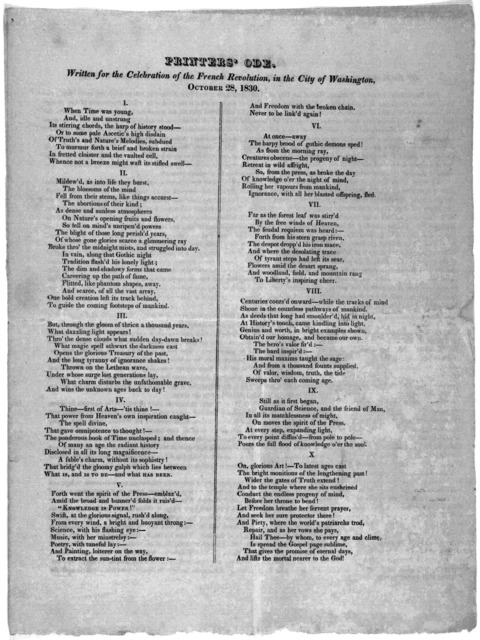 Printers' ode. Written for the celebration of the French revolution, in the City of Washington, October 28, 1830.