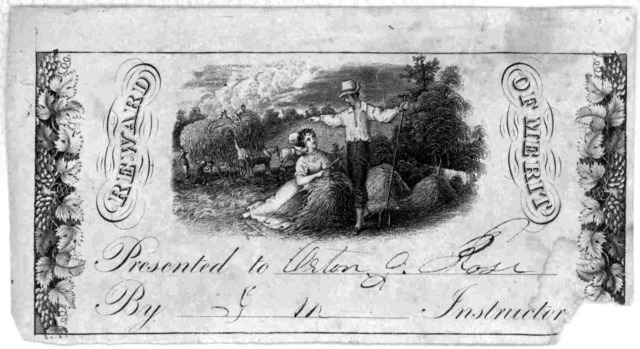 Reward of merit. Presented to by instructor. [New York? 183-].