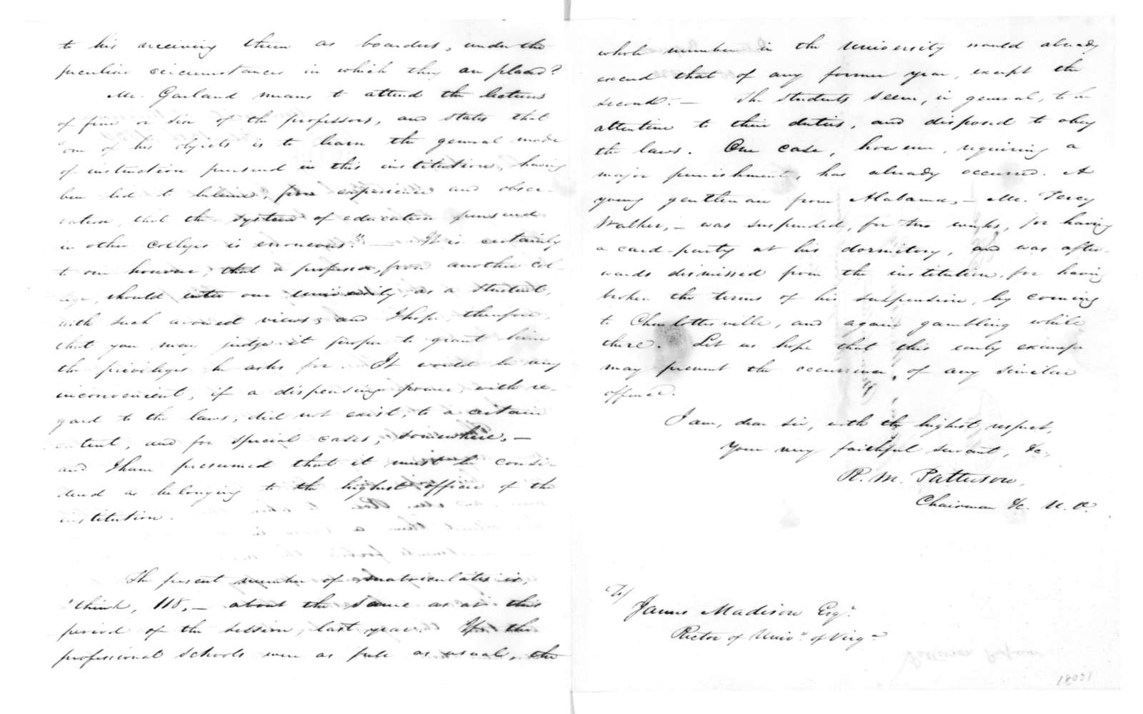 Richard M. Patterson to James Madison, October 15, 1830.
