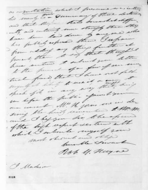Robert Y. Hayne to James Madison, July 22, 1830.
