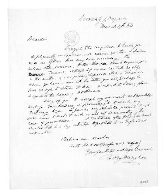 Robley Dunglison to James Madison, March 19, 1830.