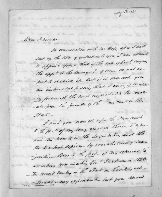 Ross Wilkins to Harmar Denny, May 6, 1830