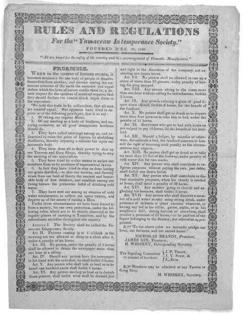 """Rules and regulations for the """"Yamacraw intemperance society."""" Founded Dec. 20, 1830. [Boston]."""