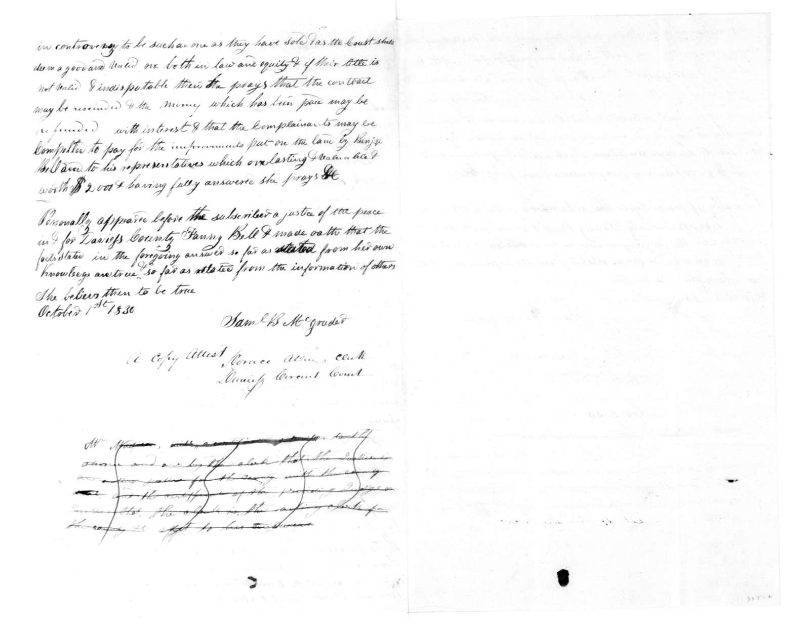 Samuel B. McGruder, October 1, 1830. Two sworn statements regarding Chancery Court Suits.