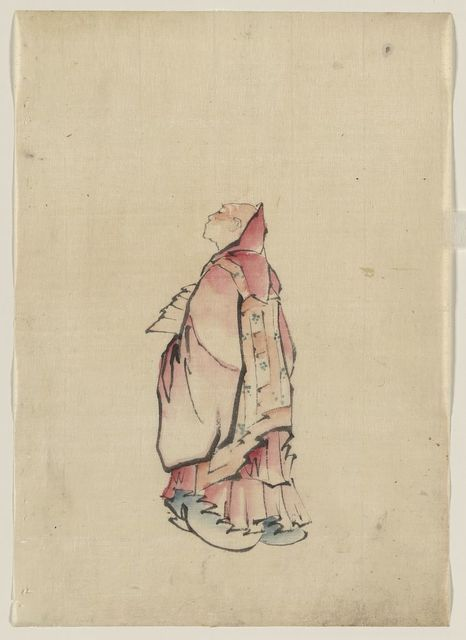 [Side view of a monk, full-length portrait, facing left, wearing gown with hood]