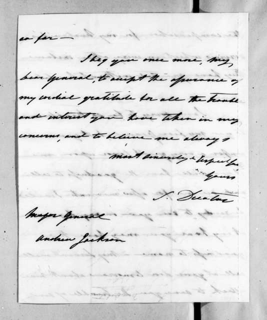 Susan Decatur to Andrew Jackson, March 19, 1830