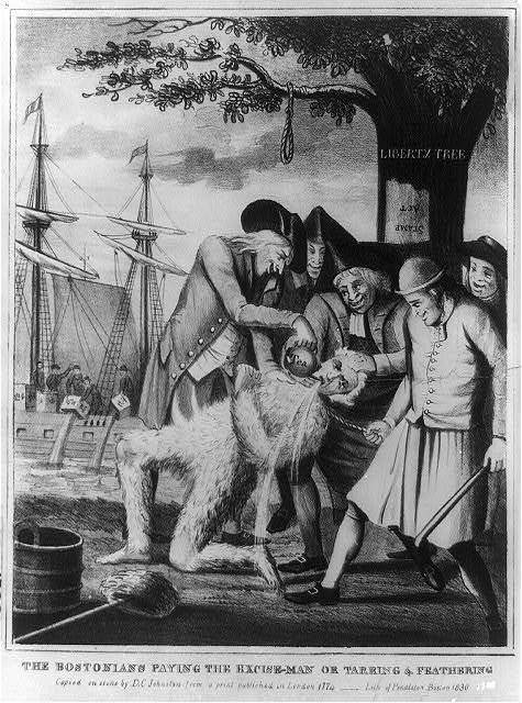 The Bostons paying the excise-man or tarring & feathering / copied on stone by D. C. Johnston from a print published in London 1774.