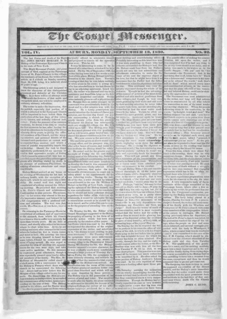 The gospel messenger. vol. IV. No. 32 Auburn [N.Y.] Monday, September 13, 1830.