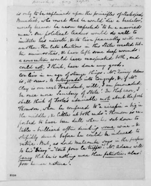 Thomas Bee to James Madison, November 6, 1830.