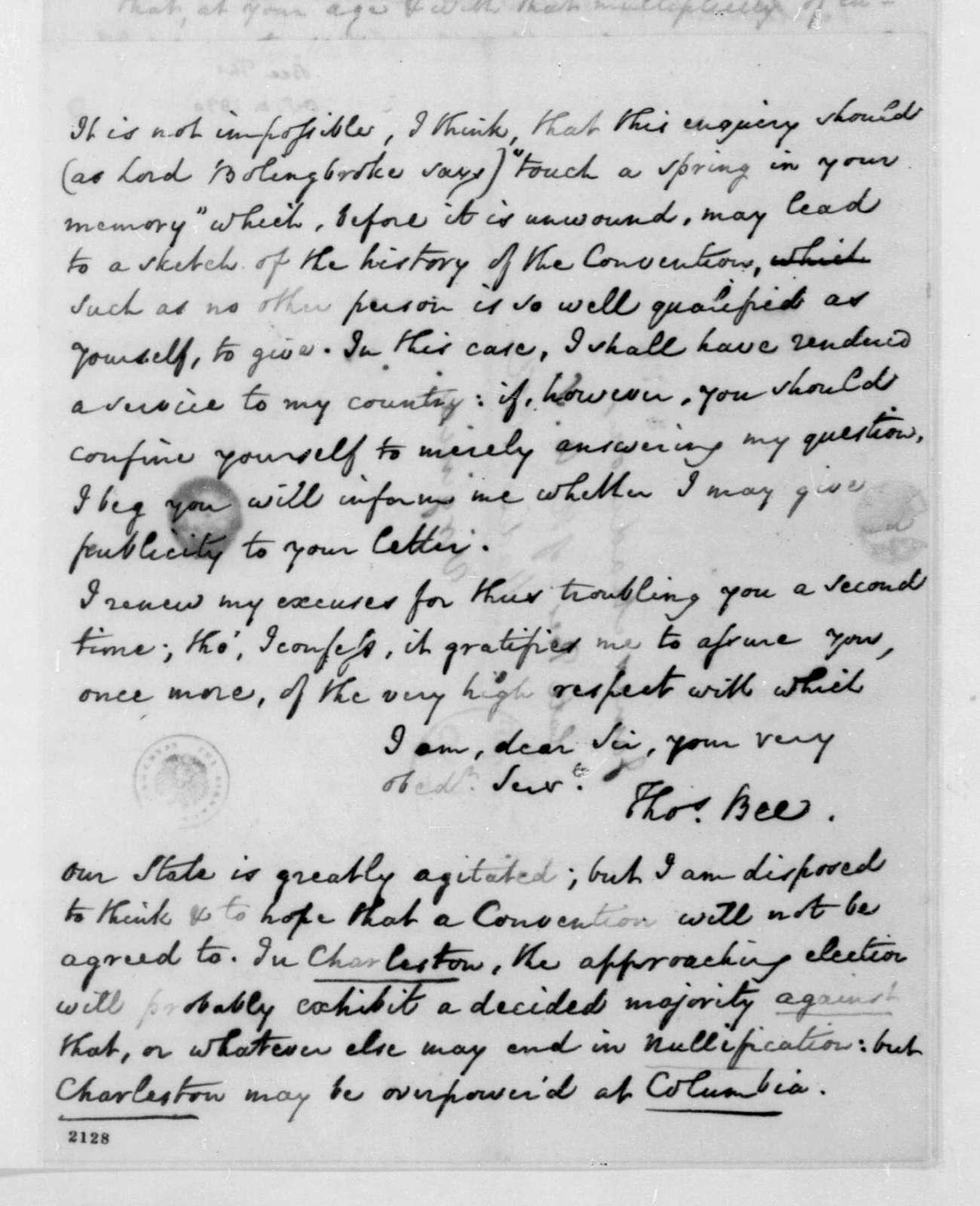 Thomas Bee to James Madison, October 4, 1830.