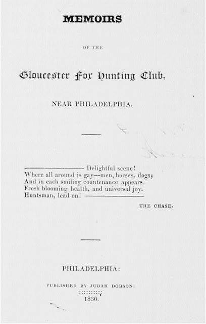 [Title page for Memoirs of the Gloucester for Hunting Club]