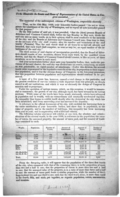 """To the Honorable the Senate and House of representatives of the United States, in Congress assembled. The memorial of the undersigned, citizens of Washington,respectfully showeth. That, on the 15th May, 1820, your honorable bodies passed """"An act"""