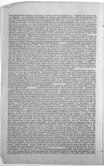 To the voters of Hardin and Meade Counties ... Your fellow-citizen John R. Stockman. July 14th, 1830. [Hardin County?] [ Meade County?]