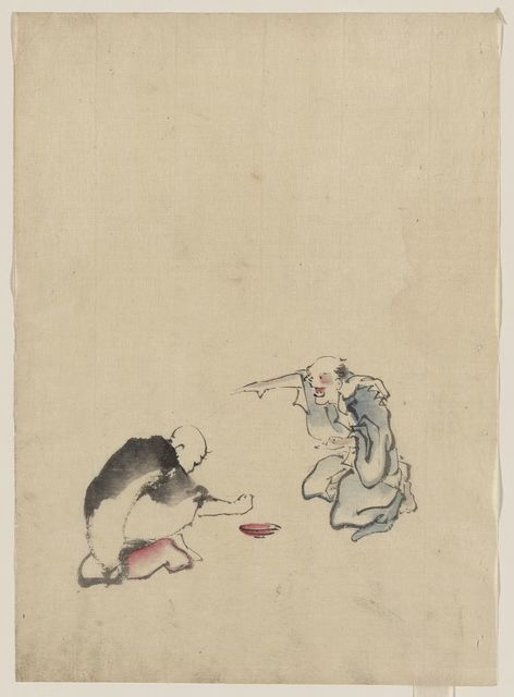 [Two men playing a game or gambling, possibly involving dice of some sort]