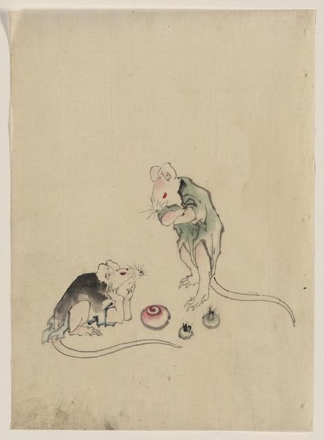 [Two mice, one lying on the ground with head resting on forepaws, the other is standing on hind legs with forepaws crossed, they are looking at each other, with three round objects on the ground between, possibly rice cakes]