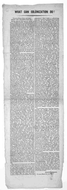 What can colonization do? From the Boston Daily advertiser ... Elliot Cresson. Tremont Hotel, Dec. 31 [183-?].