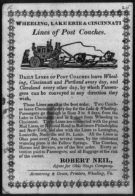 Wheeling, Lake Erie & Cincinnati lines of post coaches