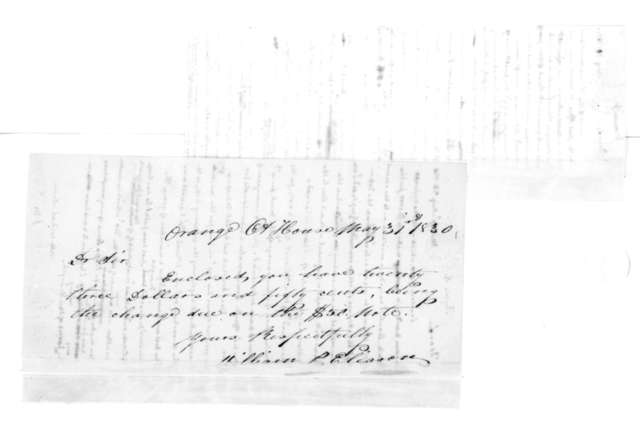 William P. Eliason to James Madison, May 31, 1830. On verso Bernard Peyton leter dated Aug. 23, 1830.