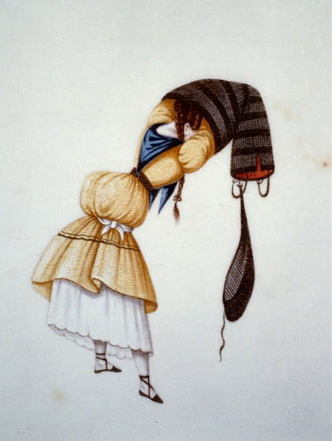 [Woman donning a pleated skirt, Peru]