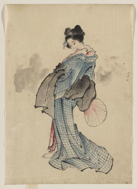 [Woman, full-length portrait, standing, facing left, holding fan in right hand, wearing kimono with check design]