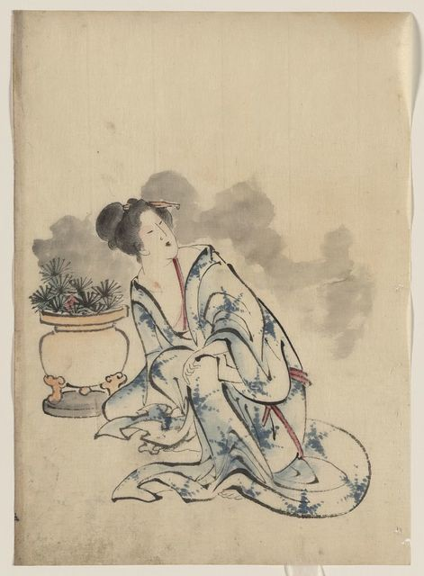 [Woman, possibly a courtesan, sitting next to a flowerpot, facing left with head turned to the right, wearing kimono with starburst design that mimics the plants in the pot]