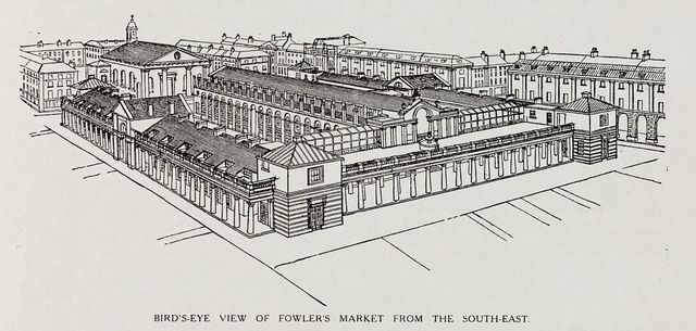 Bird's-eye view of Fowler's market from the south-east