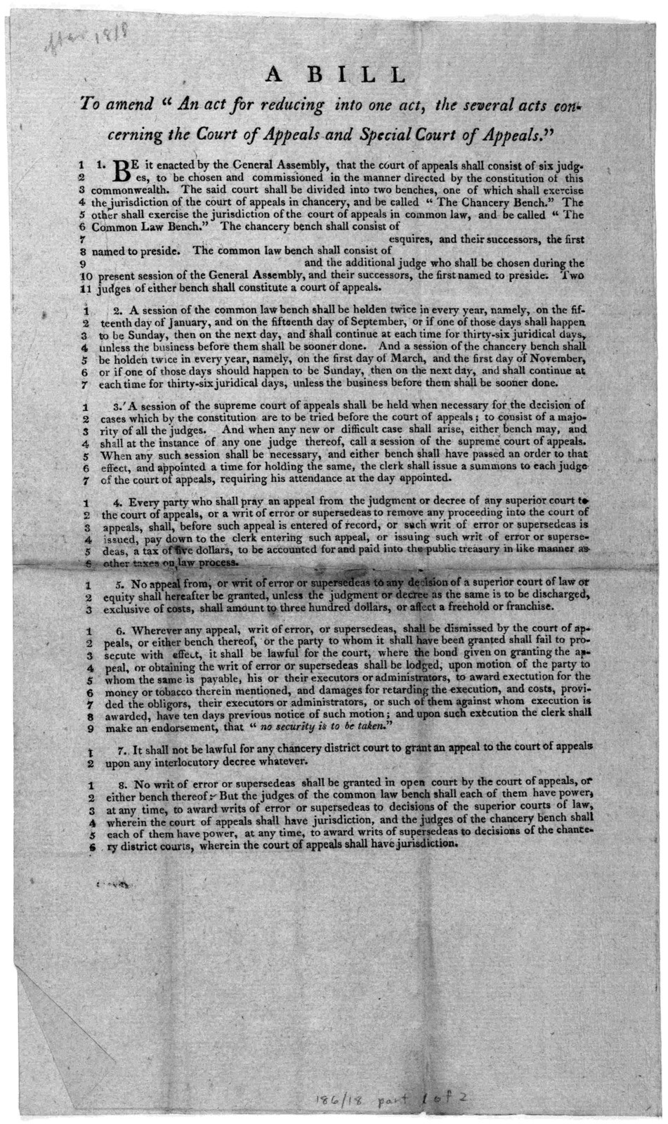 """A bill to amend """"An act for reducing into one act the several acts concerning the Court of Appeals and Special Court of Appeals."""" [Richmond, 1831]."""