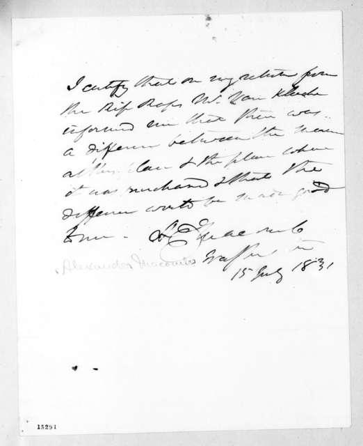 Alexander Macomb, July 15, 1831