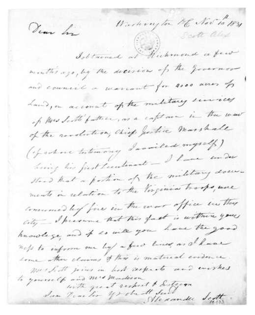 Alexander Scott to James Madison, November 10, 1831.
