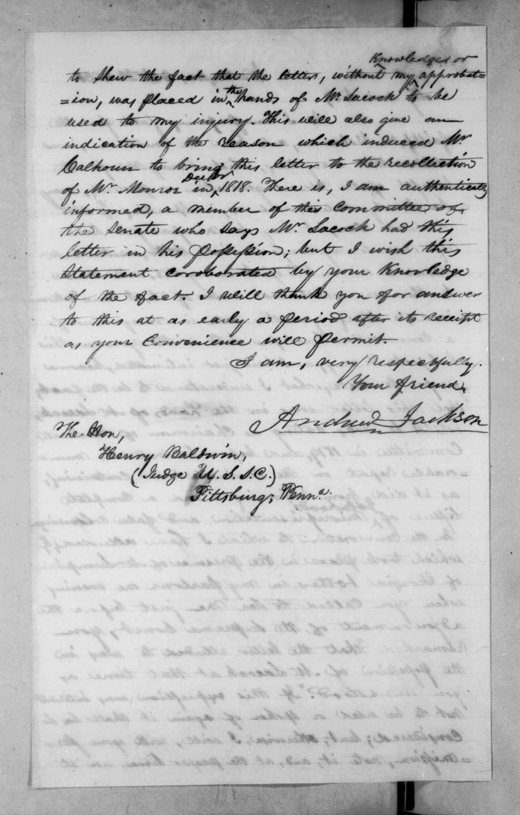 Andrew Jackson to Henry Baldwin, October 31, 1831