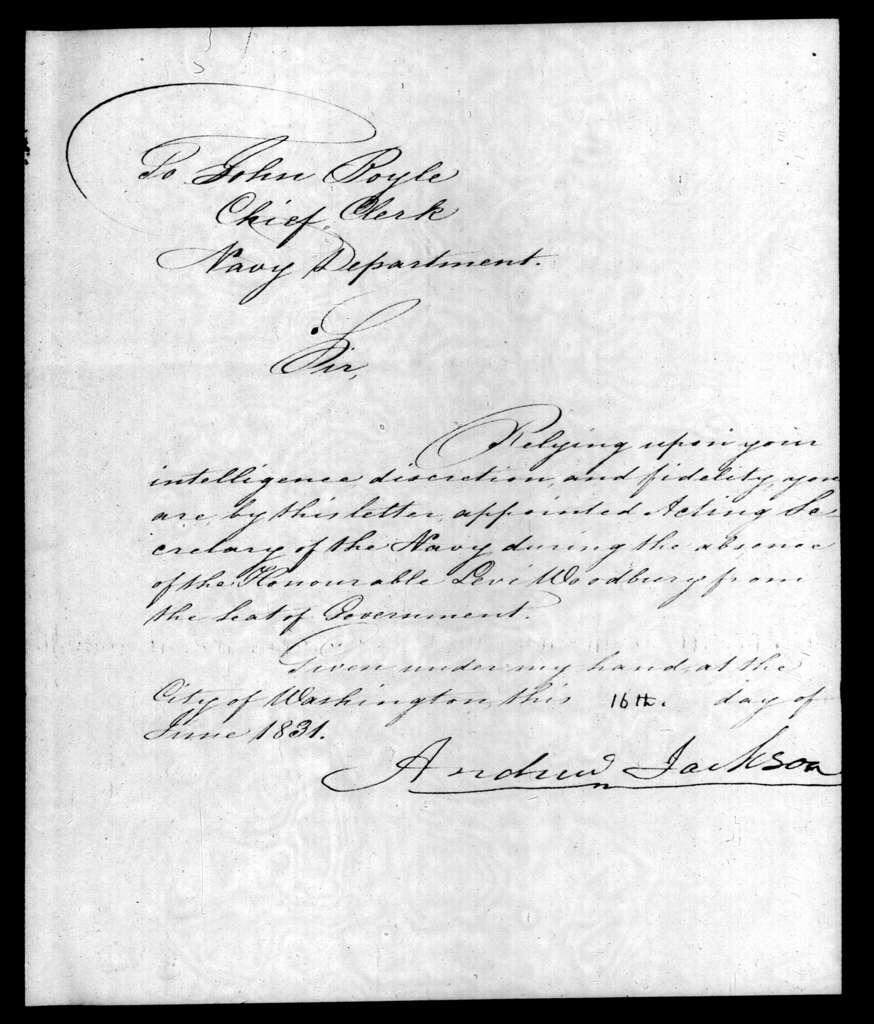 Andrew Jackson to John Boyle, June 16, 1831