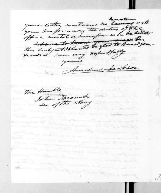 Andrew Jackson to John Branch, April 19, 1831