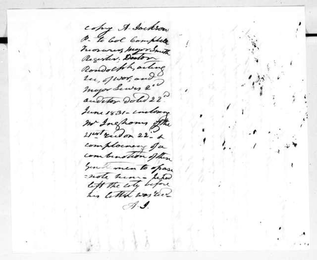 Andrew Jackson to John Campbell et al.., June 22, 1831