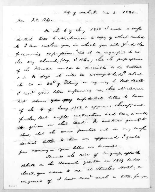 Andrew Jackson to John Rhea, June 2, 1831