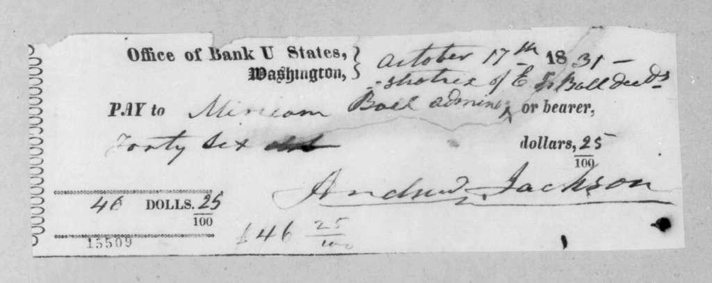 Andrew Jackson to Miriam Ball, October 17, 1831