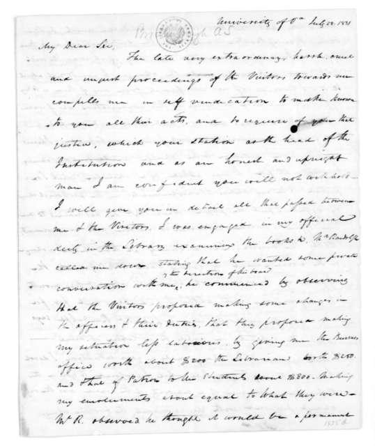 Arthur Spicer Brockenbrough to James Madison, July 28, 1831.